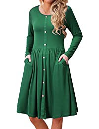 Women's Long Sleeve Casual Button Down Loose Swing Midi Dress with Pockets
