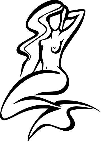 (ANGDEST Mermaid (Black) (Set of 2) Premium Waterproof Vinyl Decal Stickers for Laptop Phone Accessory Helmet Car Window Bumper Mug Tuber Cup Door Wall Decoration)