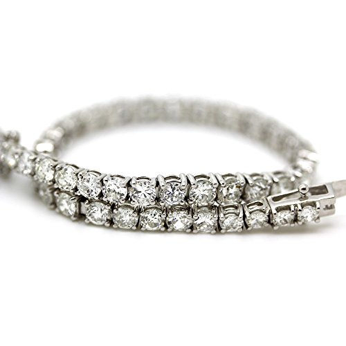 Vente.. 7.10 carats Diamant rond Old Antique Bracelet de Tennis en or blanc 18 K