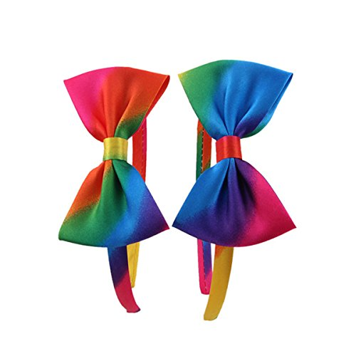 Candygirl Girls' Rainbow Satin Covered Headbands with Matched Bow
