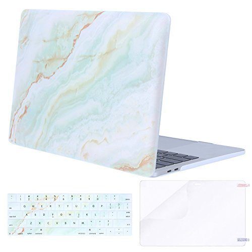 MOSISO MacBook Pro 13 Case 2018 2017 2016 Release A1989/A1706/A1708 w/ & w/o Touch Bar,Plastic Pattern Hard Case & Keyboard Cover & Screen Protector Compatible Newest Mac Pro 13 in,White Green Marble
