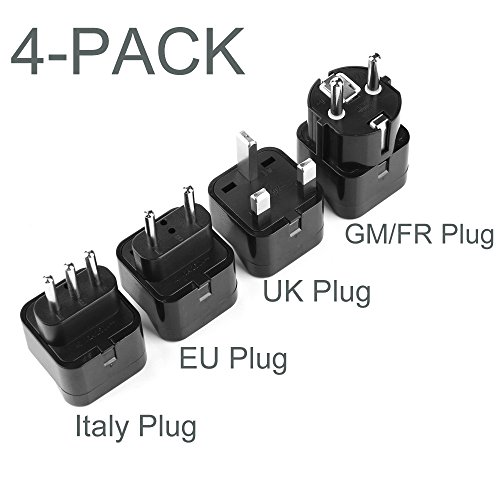 TESSAN Grounded Universal Travel Power Strip Plug Adapter International Travel Plug USA to UK/Italy/HK/GermanyFrance/ect PlugAdapter Set-4 Pack (International Outlet Plug compare prices)