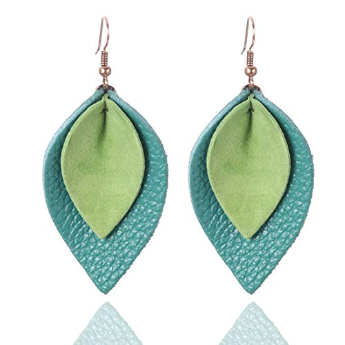Real Leather 2 Layers Green Blue Petal Leather Leaf Earrings Joanna Inspired for Women