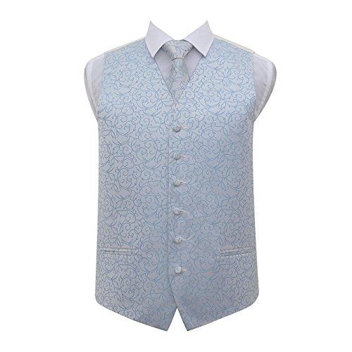 Men's Tuxedo Neck Waistcoat Tie Blue DQT Patterned Baby Swirl Wedding fqgFWwExTI