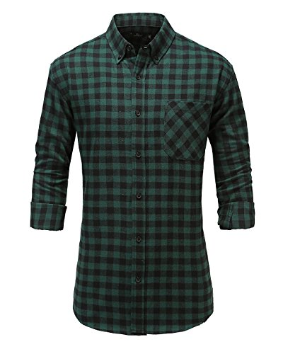 Emiqude Men's 100% Cotton Slim Fit Long Sleeve Flannel Plaid Button Down Dress Shirt Large Green Black