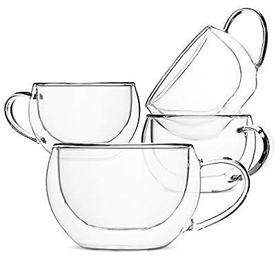 BTäT- Insulated Cappuccino Cups, Glass Tea Cups, Set of 4 (6 oz, 180 ml), Glass Coffee Mugs, Espresso Cups, Double Wall Glass Cups, Latte Cups, Tea Glasses, Latte Mug, Clear Coffee Cup, Espresso Glass