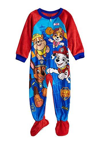 - Paw Patrol Fleece Footed Pajamas Footed Blanket Sleeper Toddler Boys (Large Print, 4T)