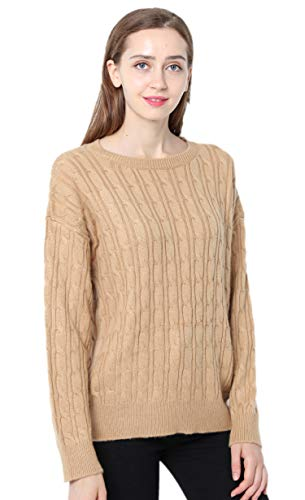 Ailaile Cashmere Sweater Women Winter Round Neck Twist Thick Pullover Wool Bottoming Loose Jumper (M/US Size 8-10, Yellow Camel)