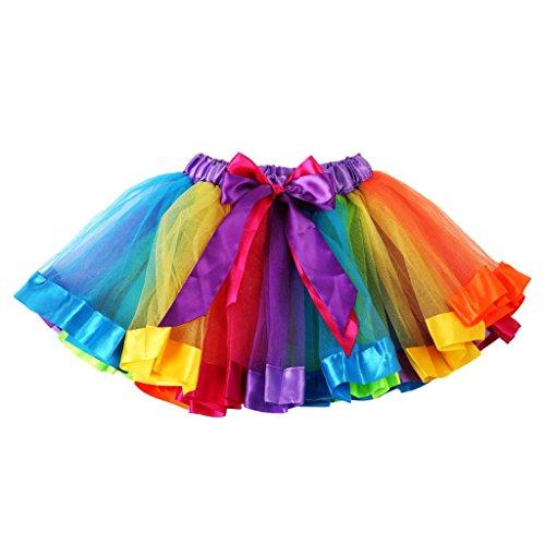 T TOOYFUL Meisjes Kids Petticoat Regenboog Pettiskirt Strik Rok Tutu Jurk Dancewear 0-8Y