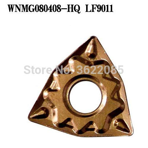 FINCOS 10pcs WNMG080404-HQ LF9011 CVD Coated Turning Inserts For Steel - (Angle: R0.8) ()