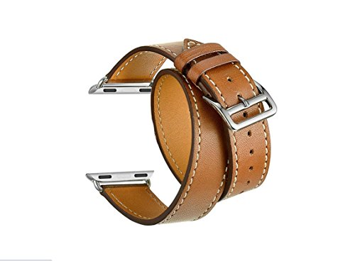 Wrap New Leather (Balerion-Double Tour Watch Band,Genuine Leather Watch Band for iWatch Apple Watch Series 1 Series 2 Series 3 Series 4-38mm/40mm Double Tour Brown)