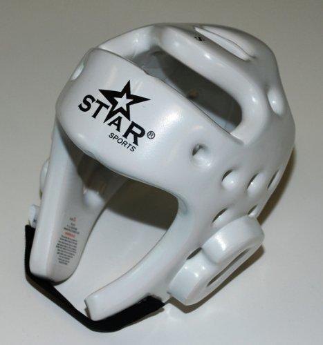 Star Sports Taekwondo TKD Kickboxing Helmet Head Gear Guard Protector Xs-l White (M) - Foam Ear Guard Headgear