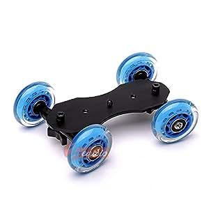 Zeadio Tabletop Portable Dolly Mini Rail Car Slider Skater Wheel Track Stabilizer for DSLR Camera Video DC - Blue