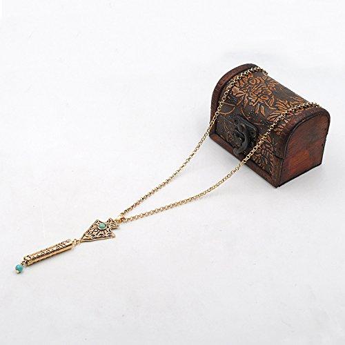 Collier Longue Chaîne Pendentif Bohême Vintage - Bronze