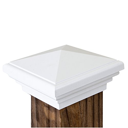 New England Post Top (4x4 Post Cap | White New England Pyramid Style Square Top for Outdoor Fences, Mailboxes and Decks, by Atlanta Post Caps)