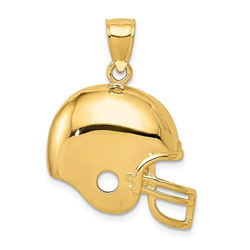 Mia Diamonds 14k Solid Yellow Gold Football Helmet Pendant (26mm x 21mm)