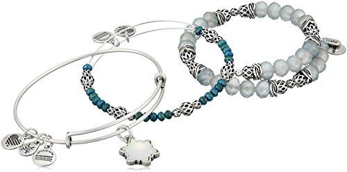 Alex and Ani Snowflake Set of 3 Rafaelian Silver Bangle Bracelet