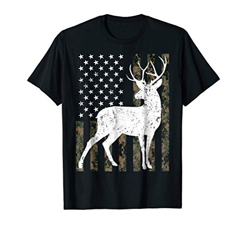 Deer hunting Tshirt Camouflage USA Flag Gift for