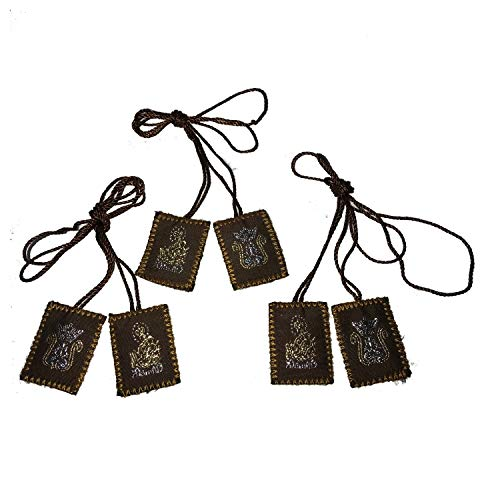 Brown Scapular Embroidered | Our Lady of Mount Carmel | Brown 3 Pack ()