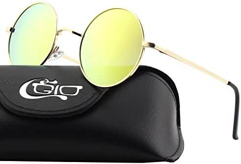 CGID E01 Retro Vintage Style Lennon Inspired Round Metal Circle Polarized Sunglasses