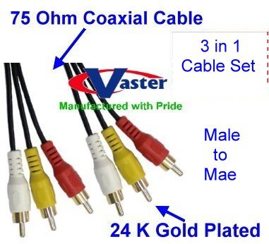 Three RCA Coaxial Composite TV Audio Video Cable (Male / Male) 4.75 M /