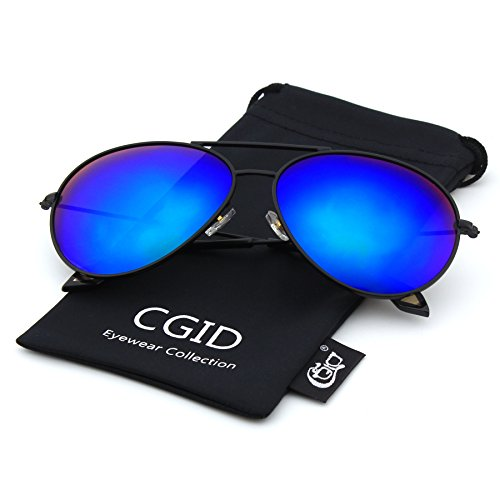 CGID CM809 Original Classic Metal Standard Aviator Sunglasses w/ Flash Mirror Lens Uv400,Matte Black - Non Polarized Polarized Difference Sunglasses Between And