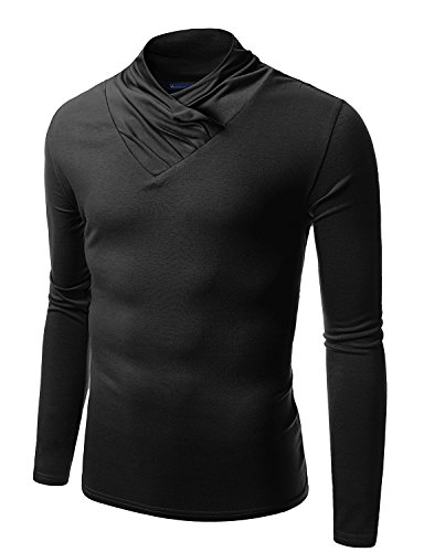 Doublju Mens Turtle Neck with Shirring Detail BLACK (US-L)