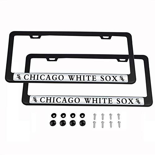 2PCS MLB Lightweight License Plate Frames Black Matte Powder Coated Aluminum - Chicago White Sox ()