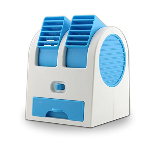 Mini Portable USB Ultra-quiet Fan No Leaf Air Conditioning Fan with Drawer to Put Ice or Perfume to Make You Cool Blue