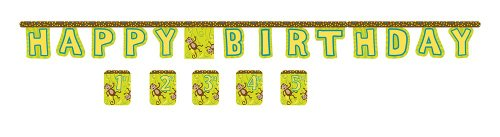 Monkey Birthday Happy (Jointed Birthday Banner with Customizable Year Stickers, Monkeyin' Around)
