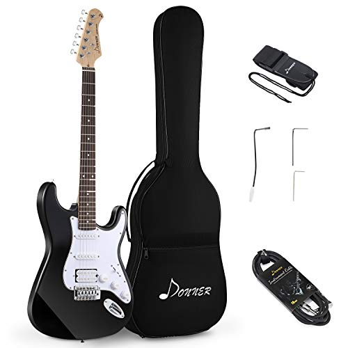 Donner DST-1B Full-Size 39 Inch Electric Guitar Black with Bag, Strap, Cable