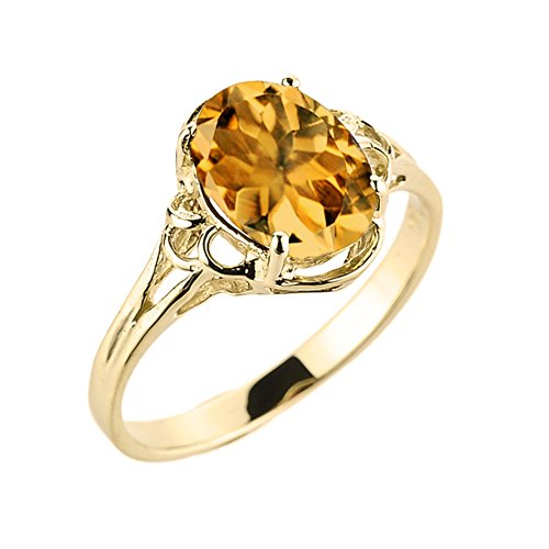 Modern Contemporary Rings Elegant 10k Yellow Gold November Birthstone Genuine Citrine Gemstone Solitaire Ring (Size 7) ()