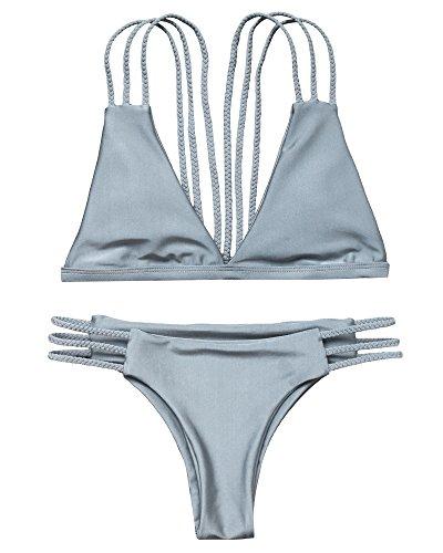 (OMKAGI Women Halter Fashion Sexy Swimwear 2 Pieces Swimsuit Bikini Set with Small Strap (M, Gray))