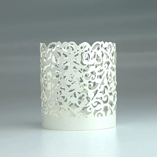 ZWY 10pcs Wedding Christmas LED Tea Light Candle Holders Table Decoration 4X 4.5cm (Cream)