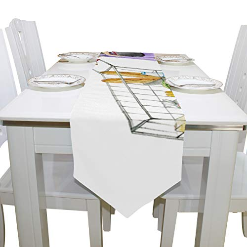 Table Linens Fashion Beauty Women Go Shopping Non-Slip Table Runner Farm Table Cloths for Kitchen Dining Room Decoration Wedding Table Covers Table Toppers 13x90 Inch]()