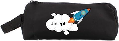 Kiddiewinkle - Estuche Personalizado para Niños, Diseño de Cohete Espacial, Estuche de Lápices Negro, Regalo Personalizado para la Escuela, Estuches de Lápices para Niños, Estuche Escolar para Niños: Amazon.es: Hogar