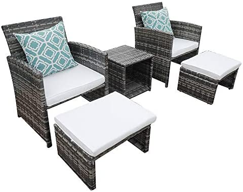 OC Orange-Casual 5 Pcs Outdoor Rattan Wicker Bistro Set All Weather Conversation Set with Ottoman Coffee Side Table