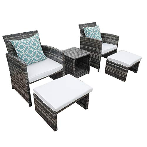 OC Orange-Casual 5 Pcs Outdoor Rattan Wicker Bistro Set All Weather Conversation Set with Ottoman& Coffee Side Table
