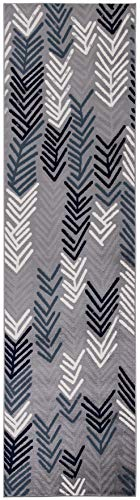 (3 x 10 Runner Rug) Diagona Designs Contemporary Modern Floral Design Runner Area Rug, 31 W x 118 L, Gray/Navy/Teal/Ivory (JAS2053)