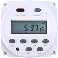 FAVOLCANO elektronische timer tijdschakelaar, DC 12V 16A, 17 programma's programmeerbaar, LCD-display