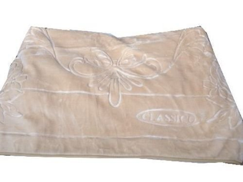 (Solaron Classic Beige Korean Thick Mink Plush Embossed King Size Blanket)