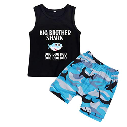 Sleeveless Brother - WISWELL Baby Boys Shark Doo Doo Doo Short Set Infant Boy Sleeveless Tops + Camouflage Pants Outfits (Black-B, 4-5 Years)