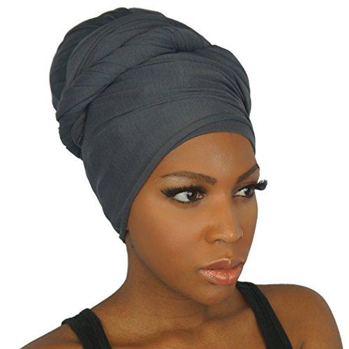 Headwrap in Stretch Jersey Knit - Long Head wrap Scarf - Charcoal ()