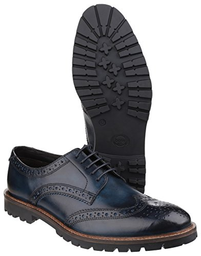 Base London Heren Trench Washed Brogue Lederen Schoenen Gewassen Blauw