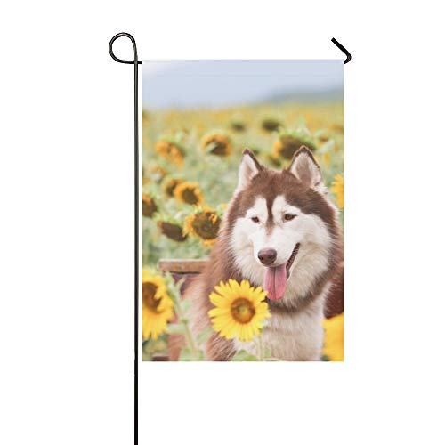 WBSNDB Home Decorative Outdoor Double Sided Happy Dog Sunflower Field Garden Flag
