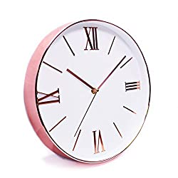 Modern 12 Rose Gold Large Decorative Wall Clock - Super Slim Frame, Stylish Simple Design, Non-Ticking, Quiet Sweep Hands, Battery Operated