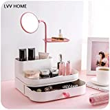 LVV Home Drawer Cosmetics Storage Box/Simple Home Desktop Lipstick Bathroom Shelf with a Mirror