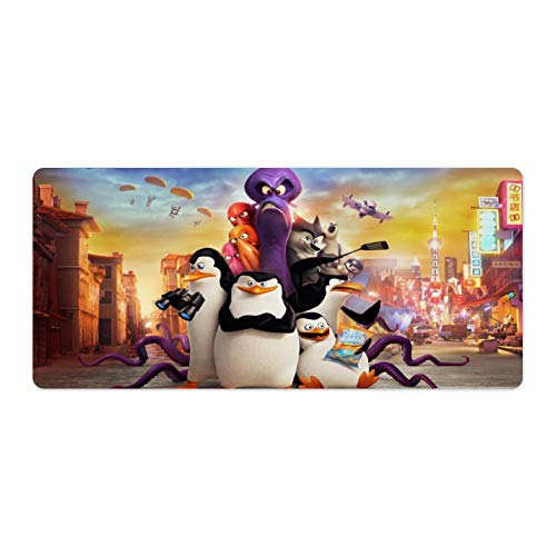 Extended Gaming Mouse Mat/Pad - Large,Stitched Edges,Penguins of Madagascar Animated Movies Penguins, Ideal for Desk Cover, Computer Keyboard, PC and Laptop,40x90cm (The Penguins Of Madagascar Siege The Day)