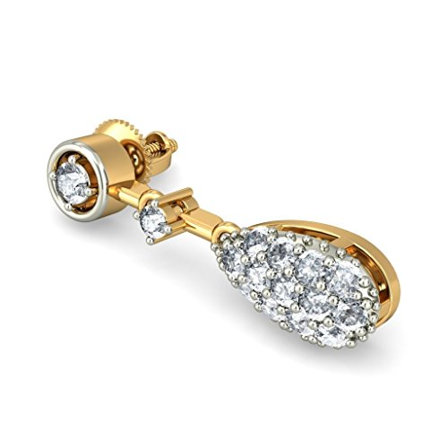 Or jaune 18 K/CT TW White-diamond (IJ | SI) Pendants d'oreilles