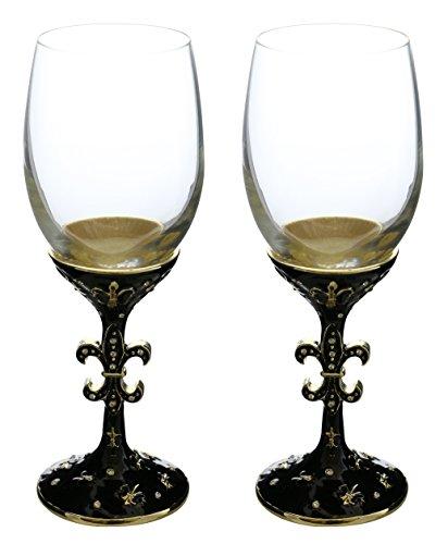 Italian Arthur Court White Wine Glass Fleur-De-Lis 2-Piece Set Wine Glasses set of 2